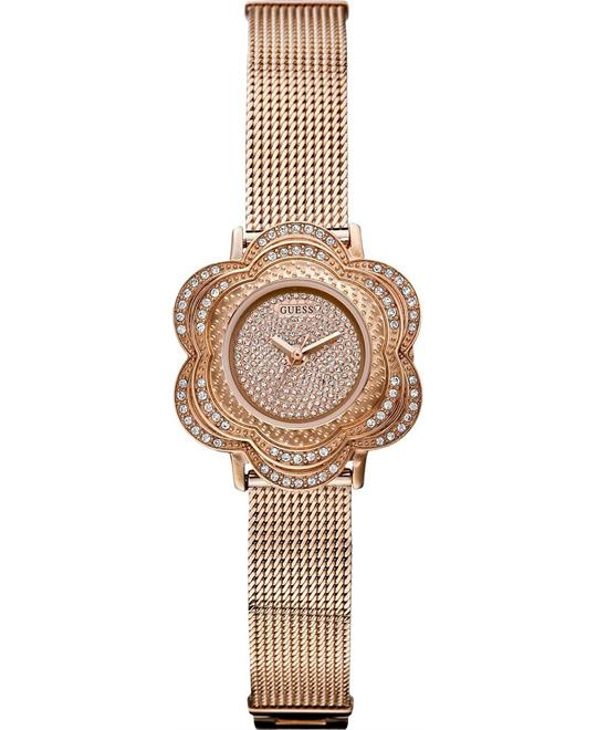 GUESS Floral Silver Mesh Women's Watch 26mm