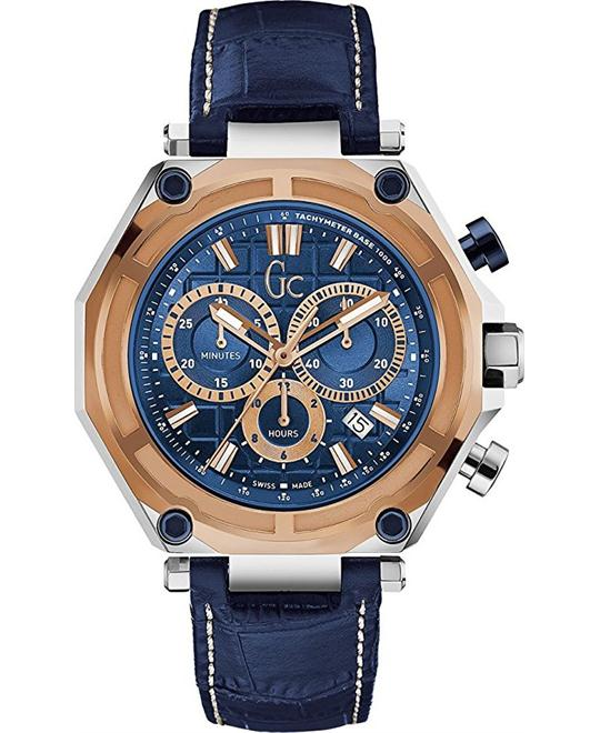 Guess GC Collection Men's Leather Blue Watch 44mm