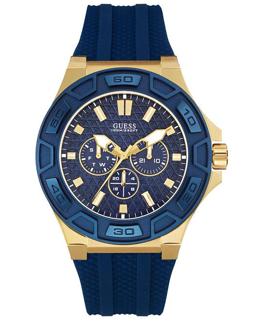 GUESS Iconic Blue & Gold-Tone Multi-Function Watch 44.5mm