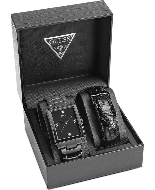 Guess Rectangular Diamond Men's Watch Set 40x35mm