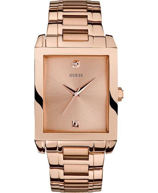GUESS Men's Rose Gold Rectangular Diamond Watch 35mm
