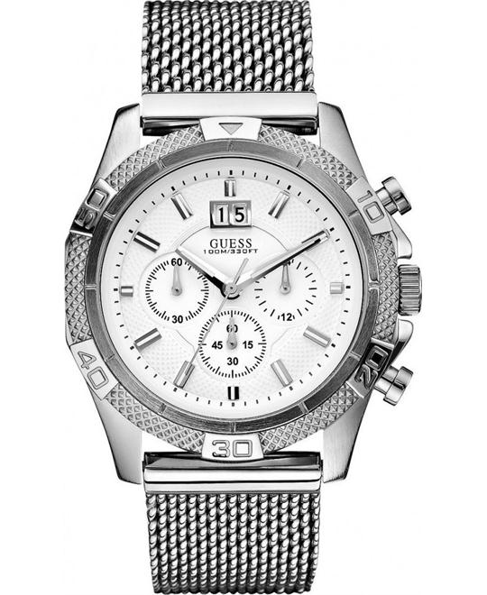 Guess Men's Silver Stainless-Steel Quartz Watch 45mm
