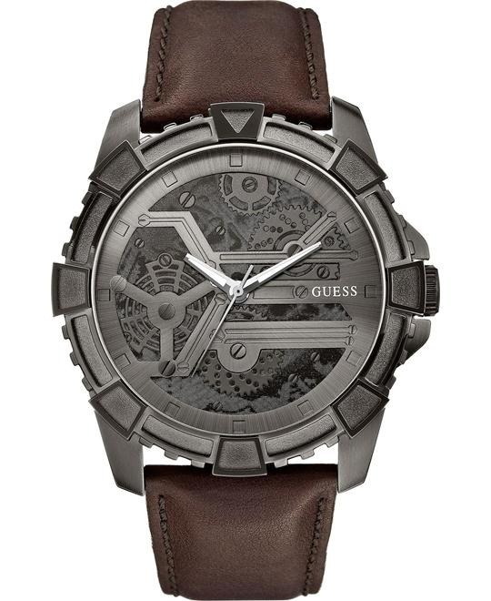 GUESS Dynamic Brown Leather Men's Watch 49mm