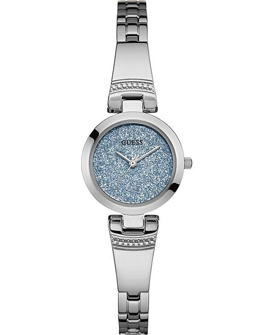 GUESS Petite Glitz Blue and Silver-Tone Watch 25mm