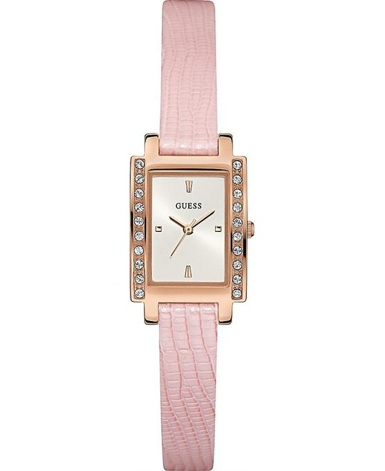 GUESS  Petite Rectangle Pink and Rose Gold Watch 20x25mm