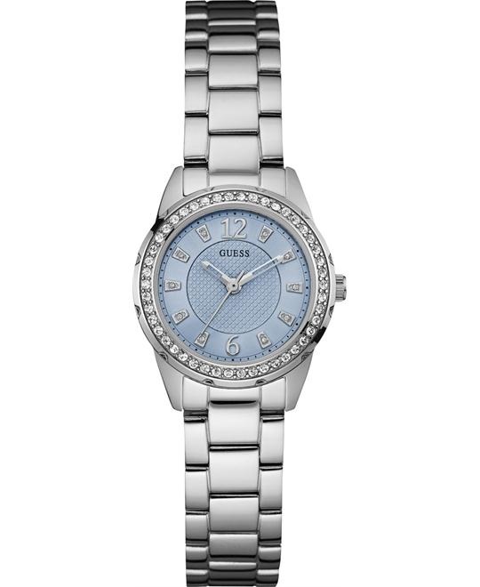 GUESS Women's Sporty Feminine Silver-Tone Watch 27mm