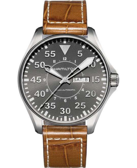 Hamilton Men's Swiss Brown Leather Strap 46mm