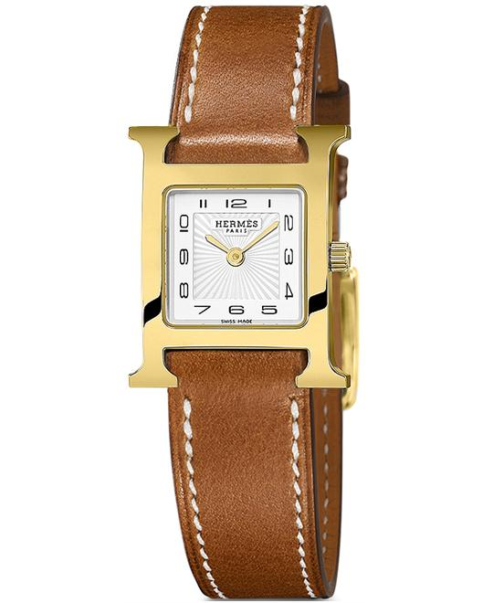 Hermes Ladies Gold Plated Leather 17.2mm X 17.2mm