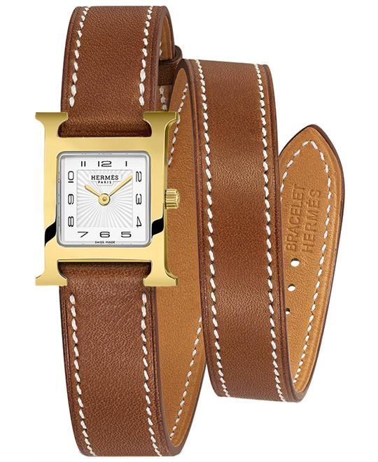Hermes 039641WW00 Gold Plated Leather 17.2mmX17.2mm