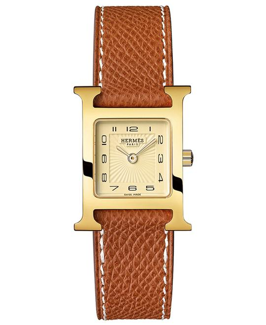 Hermes Ladies Gold Plated Leather 21mm X 21mm
