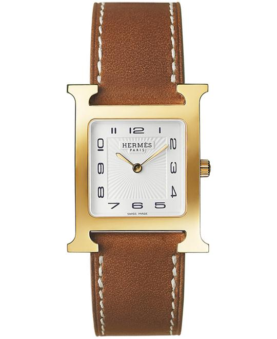 Hermes Ladies Gold Plated Leather 26mm X 26mm