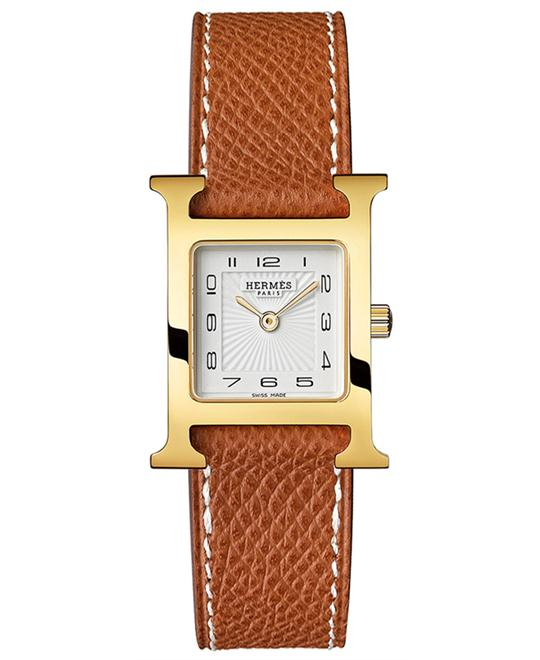 Hermes Ladies Gold Plated White Leather 21mm X 21mm