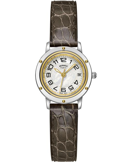 Hermes 039392WW00 Stainless Steel & Gold Leather 24mm