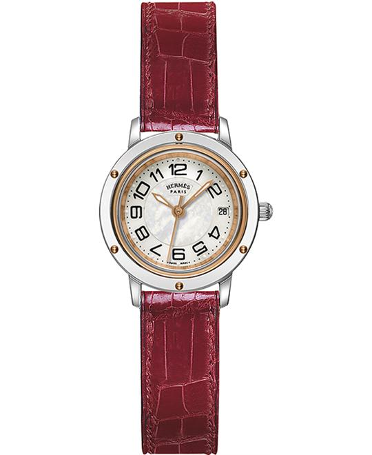 Hermes Ladies Stainless Steel & Gold Leather 24mm
