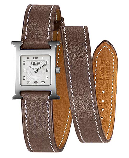 Hermes Ladies Stainless Steel Leather 17.2mm X 17.2mm