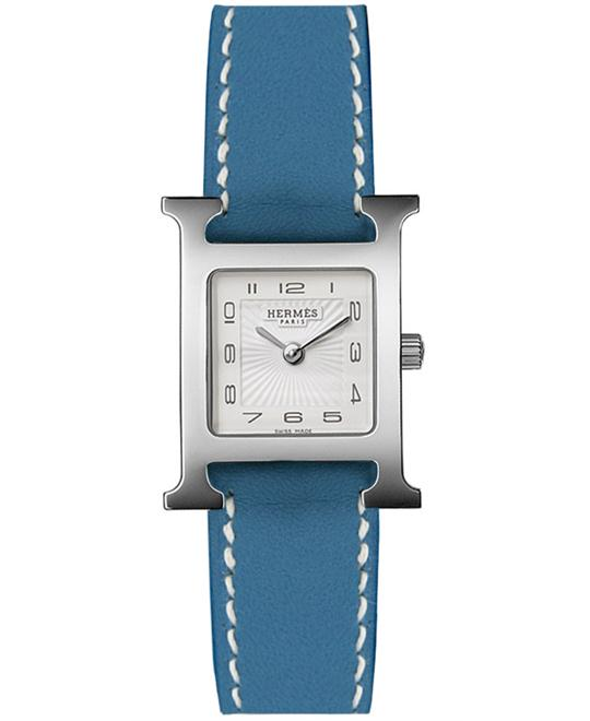 Hermes Ladies Stainless Steel Leather 21mm X 21mm