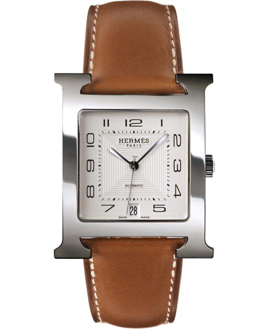 Hermes Mens Stainless Steel Leather 32.2mm X 32.2mm