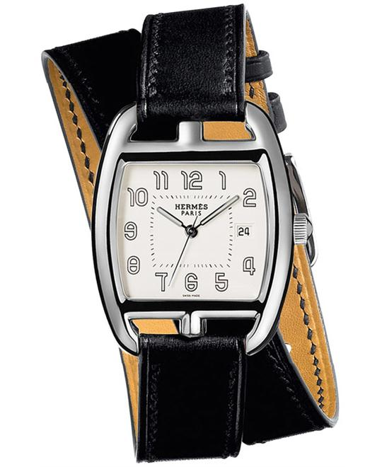 Hermes Midsize Stainless Steel Leather 30mm X 33mm