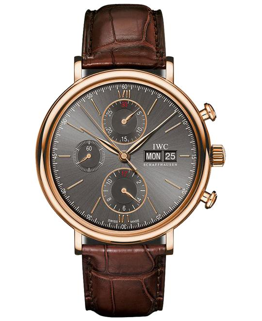 IWC IW391021 Mens 18kt Rose Gold Leather 42mm