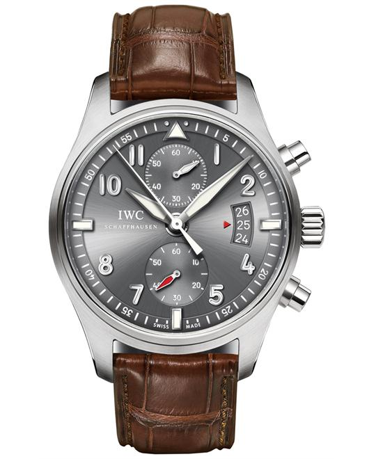 IWC IW387802 Mens Chronograph Stainless Steel Leather 43mm