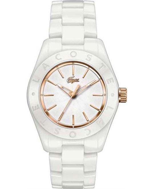 Lacoste Biarritz White Dial White Ceramic Watch 36mm