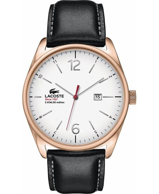 Lacoste Men's Austin Black Leather/Gold/White Watch 44mm