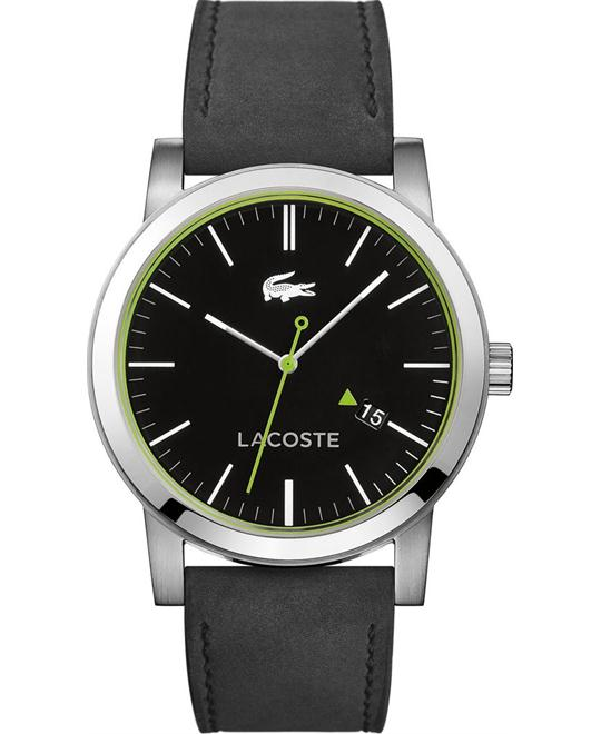 Lacoste Metro Black Leather Men's Watch 42mm