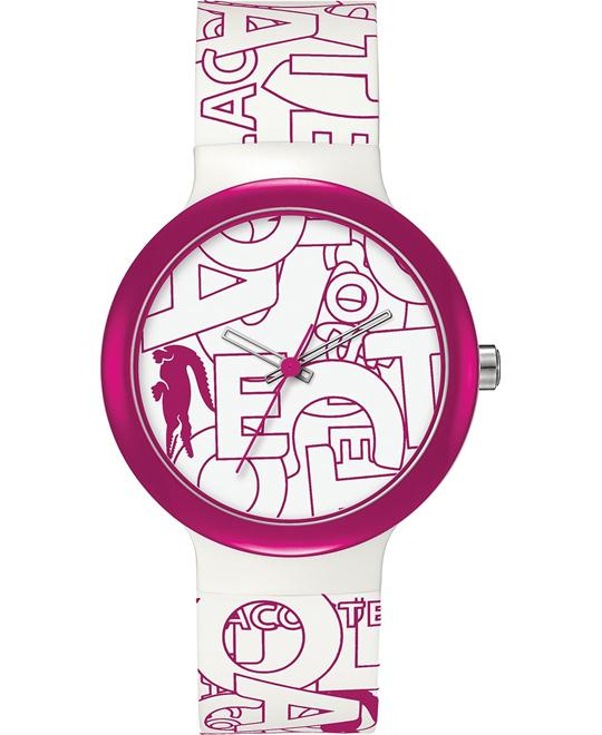 Lacoste Unisex White and Pink Silicone Watch 40mm