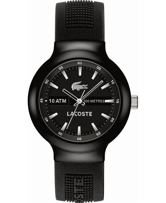 Lacoste Watch, Men's Borneo Black Silicone, 44mm