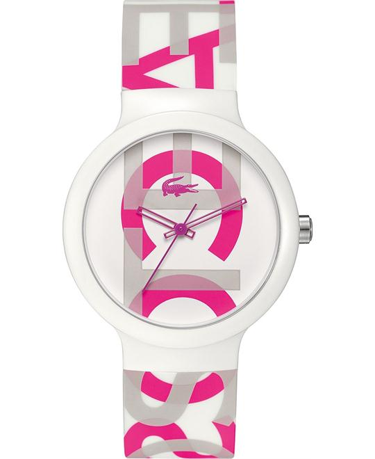 Lacoste Watch, Unisex Print White Silicone 40mm
