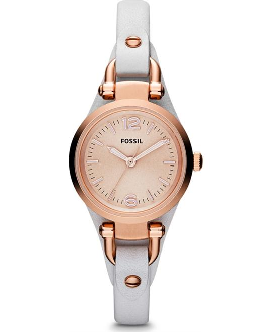 Leather Strap Watch, 26mm White/ Rose Gold