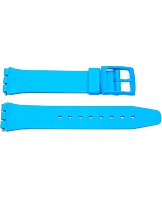 Light Blue Smooth Swatch Style Watch Strap 12mm