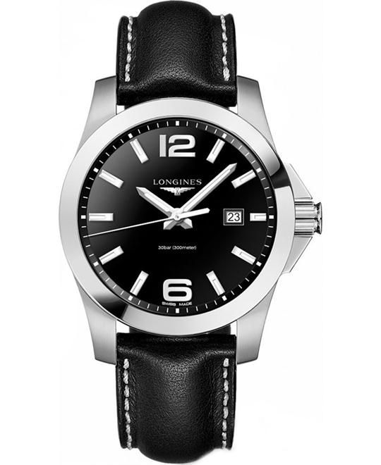 LONGINES L3.760.4.56.3 Conquest Black Leather Men's Watch 43mm