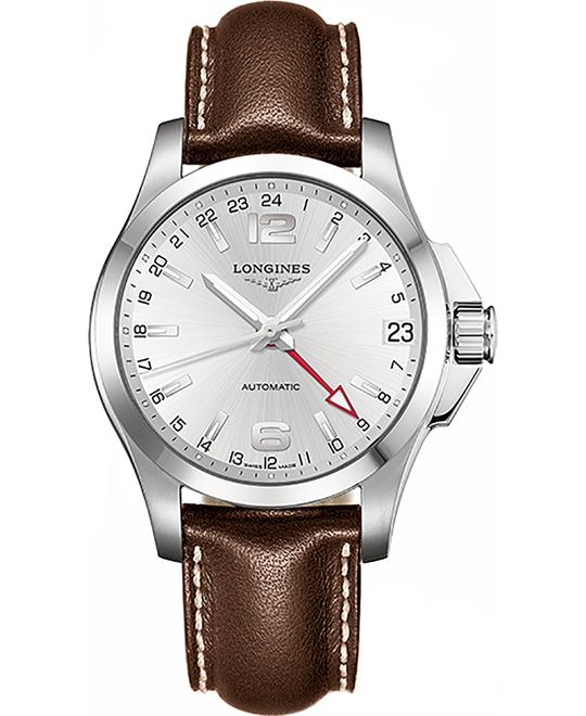 LONGINES Conquest L3.687.4.76.4 Automatic GMT Watch 41mm