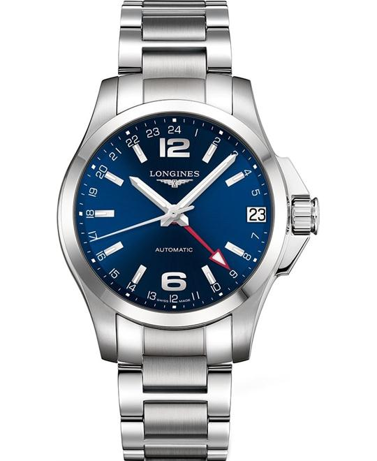 LONGINES L3.687.4.99.6 Conquest GMT Watch 41mm