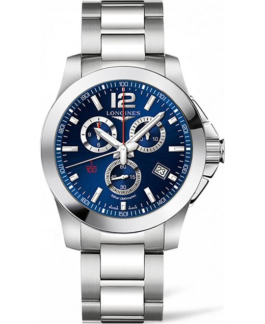 LONGINES Conquest  L3.800.4.96.6 Chronograph Watch 44mm