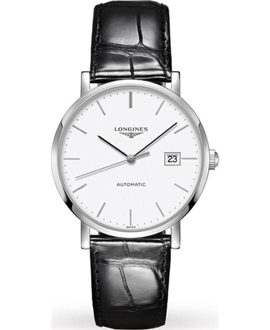 LONGINES Elegant Alligator Automatic Watch 39mm