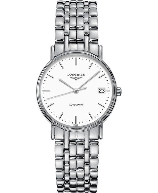 LONGINES L4.821.4.12.6 Presence Automatic Watch 34.5mm