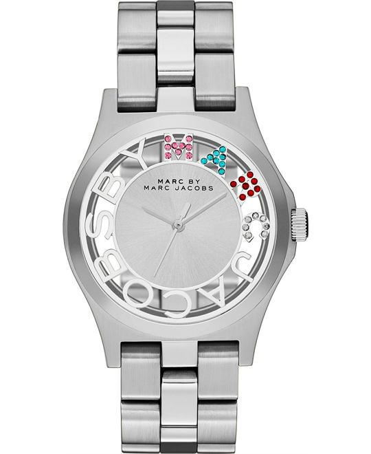 Marc Jacobs Silver Tone Henry Glitz Skeleton Watch 40mm
