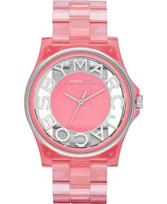 Marc by Marc Jacobs 'Henry Skeleton' Pink Plastic Watch 41mm
