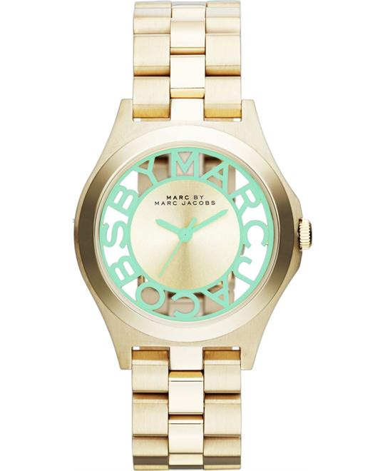 MARC JACOBS Gold & Mint Green Henry Skeleton Watch 34mm