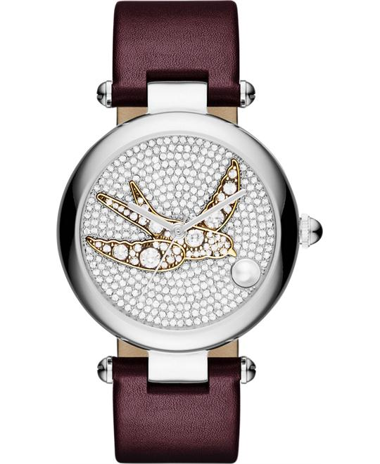 Marc Jacobs Dotty Oxblood Leather Strap Watch 34mm