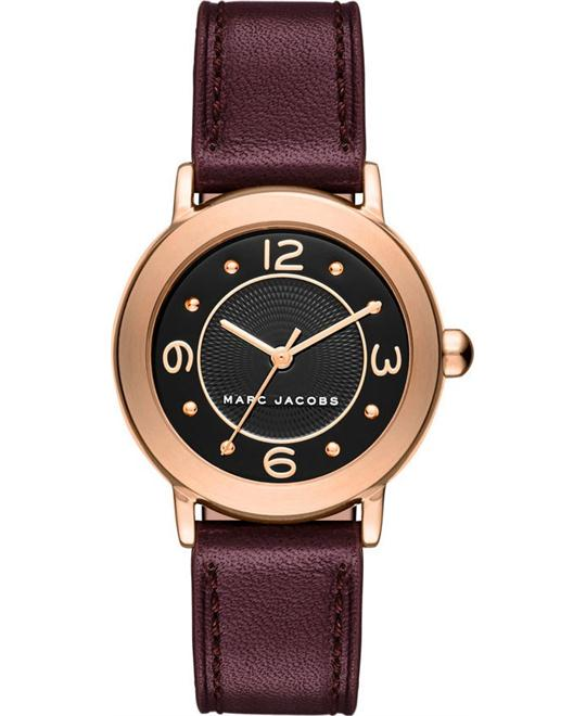 Marc Jacobs Riley Oxblood Leather Strap Women's Watch 28mm