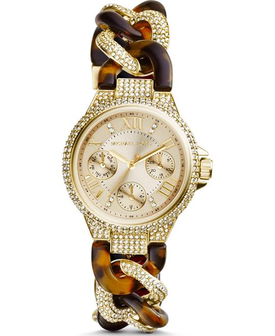 Michael Kors Camille Champagne Dial Tortoise and Steel Ladies Watch 33mm