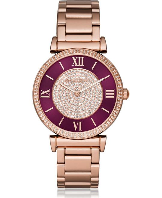 MICHAEL KORS Catlin Crystal Burgandy Ladies Watch 38mm