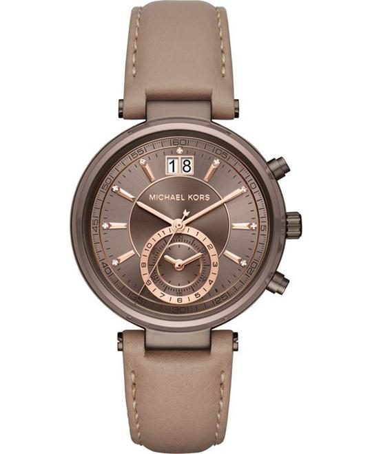 Michael Kors Chronograph Sawyer Latte Leather Strap Watch 39mm