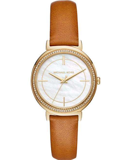 Michael Kors Cinthia Gold-Tone and Brown Watch 33mm