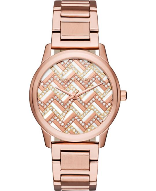 MICHAEL KORS Hartman Chevron Rose Gold-Tone Watch 38mm
