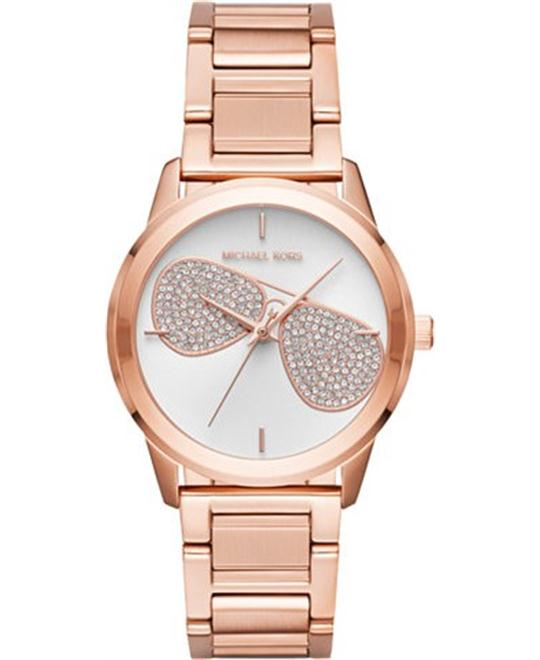 Michael Kors Hartman Silver Rose Gold Tone Watch 38mm