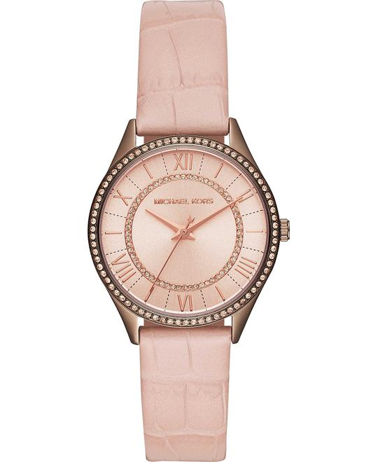 Michael Kors Lauryn Sable IP and Blush Croco Watch 33mm